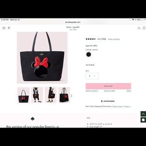 Sold Out Kate Spade Minnie Mouse Francis Tote